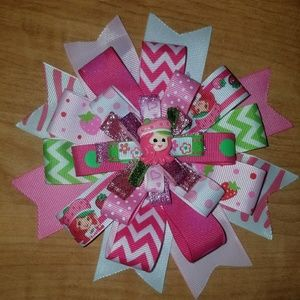 Other - Pink and green Strawberry Shortcake bow